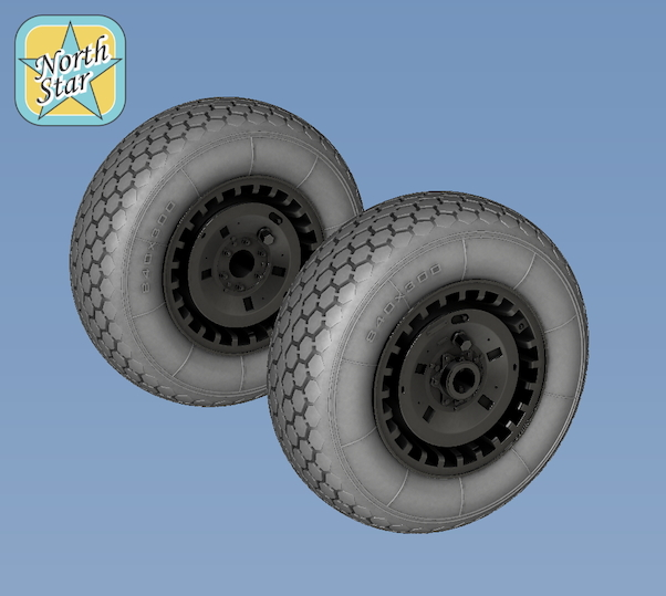 Wheel set for Messerschmitt Me262 Type 1 (Smooth nose wheel)  NS32037