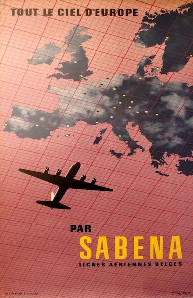 Tout le ciel d'Europe par SABENA  Lignes Aeriennes Belges metal poster  SABENA