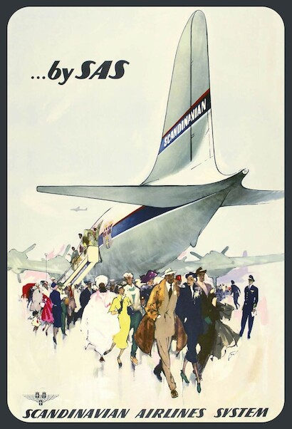 By SAS -  Scandinavian Airlines System Vintage metal poster metal sign  AV0006
