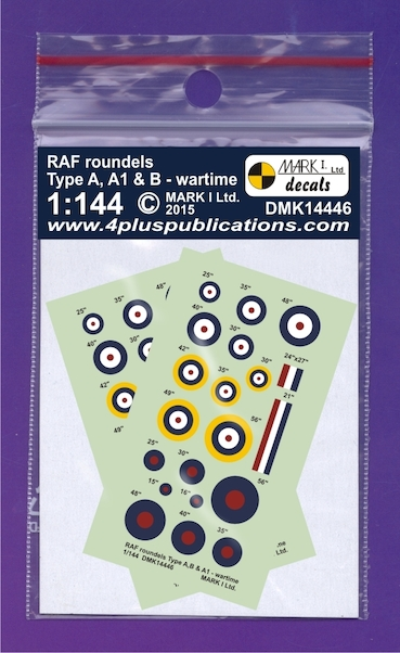 RAF WWII roundels Type A, A1, B, 2 sets  DMK14446