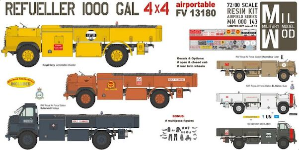 Bedford Airport Refueller 1000 Gal 4x4 with figures  MM000-143