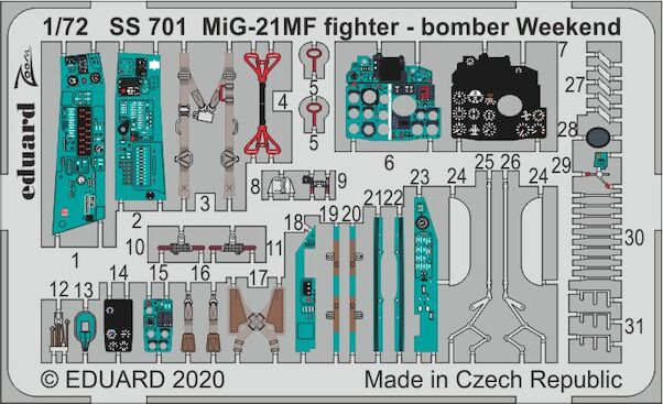 Detailset Mikoyan MiG21MF Fishbed Fighter Bomber (Eduard - Weekend)  ss701