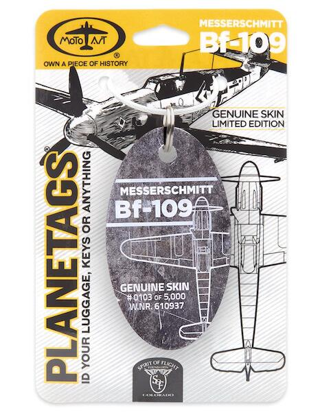 Keychain made of real aircraft skin: Messerschmitt BF-109 Tail nr 610937  BF-109 TAG