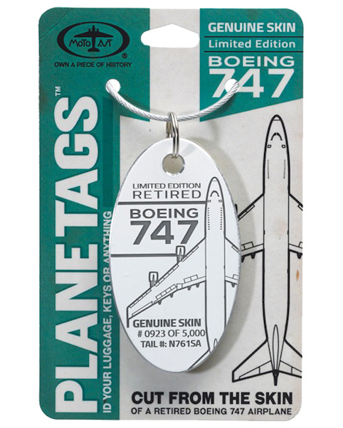 Keychain made of real aircraft skin: Boeing 747 N761SA Southern Air (white)  N761SA