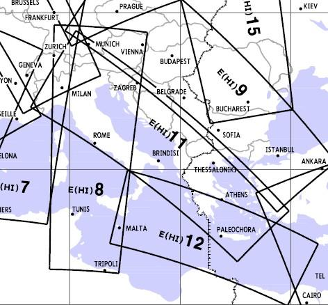 High Altitude Enroute Chart Europe HI 11/12: Italy, Austria, Adriatic Sea, Greece E(HI)11/12  E(HI)11/12