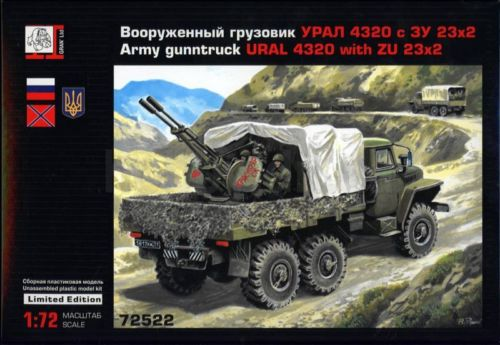 Army Guntruck, URAL 4320 truck with ZU-23 Soviet Anti-aircraft automatic duplex gun system  72612