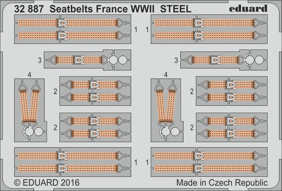 Detailset French WWII Fighter Seatbelts (STEEL)  E32-887