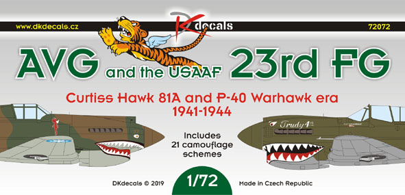 AVG and the USAAF 23rd FG, Curtiss Hawk 81A and P40 Warhawk era  (21 camo schemes)  DK72072