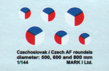 Czechoslovak/CzAF roundels (dia 500, 600, 800 mm), 2 sets  DMK14410