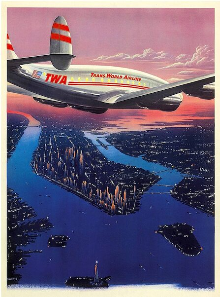Manhattan New York City - Trans World Airlines TWA Vintage metal poster metal sign