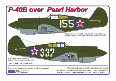 Curtiss P40 over Pearl Harbor (2x decal options) (AML Models AMLC9-003)