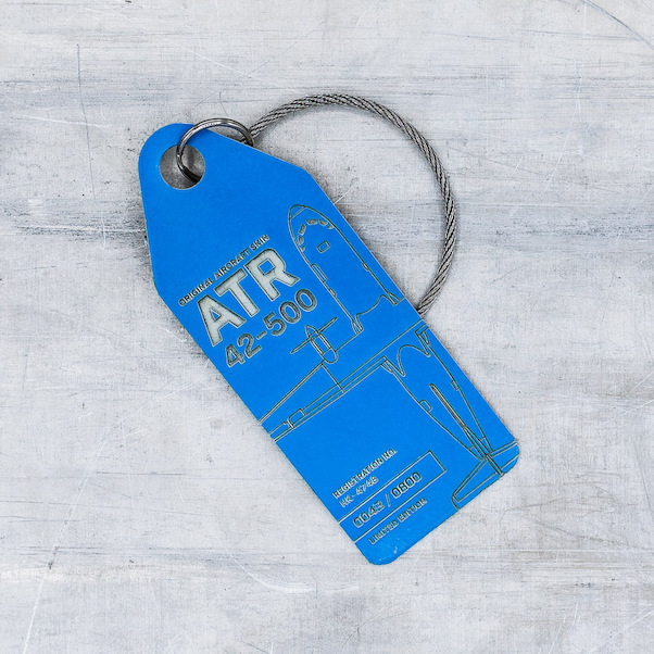 Keychain made of real aircraft skin: ATR42-500 HK-4748 Satina (blue)  HK-4748 blue