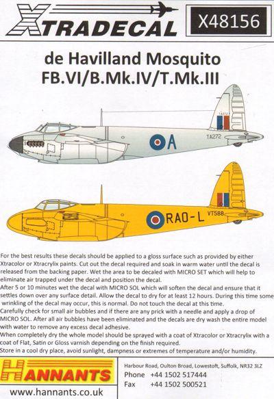 Xtradecal 1//48 X48156 De Havilland Mosquito FB VI B Mk IV T Mk III Decals