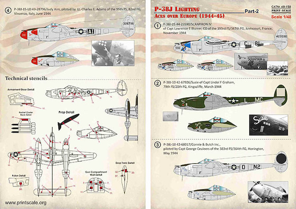 Print Scale Decals 1//48 Lockheed P-38J Lighting Aces over Europe 1944-45 Part