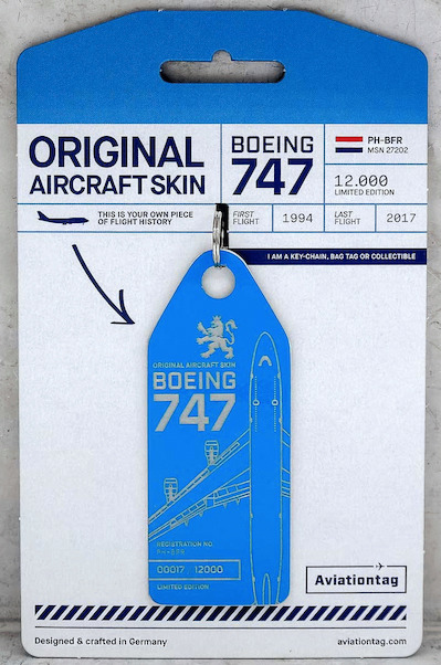 Keychain made of real aircraft skin: Boeing 747-400 PH-BFR (KLM)  PH-BFR