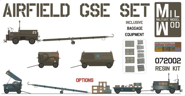 Airfield Set - with small Diesel Tug and including Baggage equipment  MILMOD072002