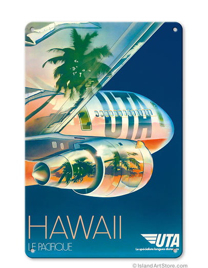 Union de Transports Aeriens (UTA) - Hawaii Le Pacifique (The Pacific) Vintage metal poster metal sign  MTSA1717