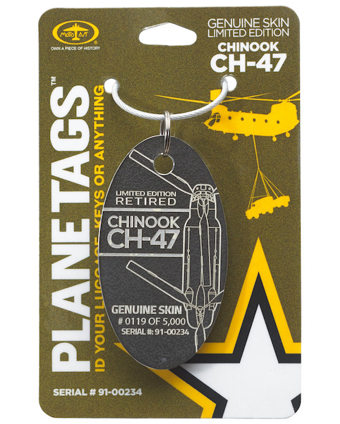 Keychain made of real aircraft skin: CH-47 Chinook 91-00234  CH-47 91-00234