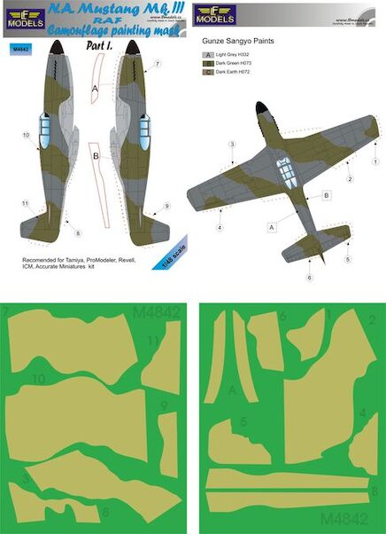 North American Mustang MKIII RAF Camouflage Painting Mask Part 1  LFM4842
