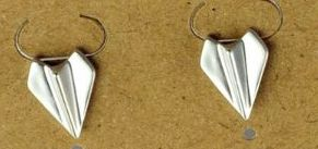 Silver plated matte Paper airplane pair of stud earrings  EAR3289-S
