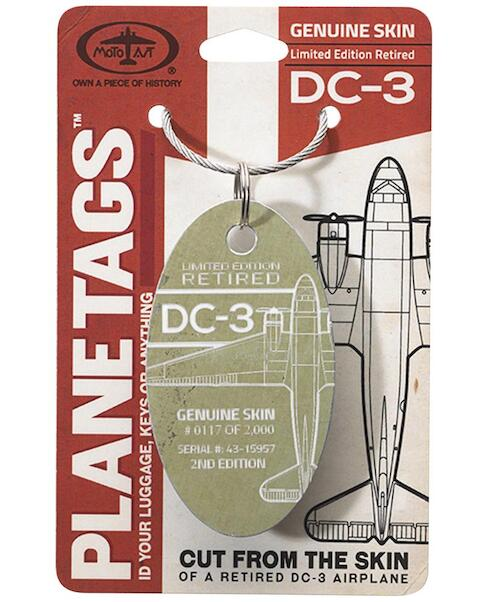 Keychain made of real aircraft skin: DC-3 43-15957  0642872451667