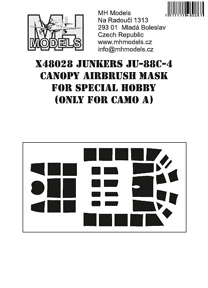 Junkers Ju88C-4 Canopy Airbrush mask (Special hobby Camo A)  X48028
