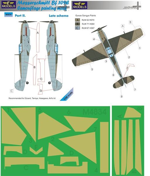 Messerschmitt BF109 camouflage Mask - Late Scheme Part 2  LFM4834