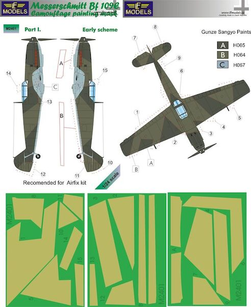 Messerschmitt BF109 camouflage Mask - Early Scheme Part 1 (Airfix)  LFM2401