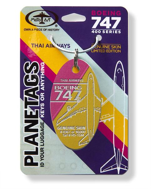 Keychain made of real aircraft skin: Boeing 747 Thai Airways HS-TGM Combo Magenta/Gold  THAI MAG-GOL