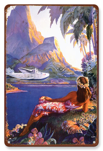 Fly to the South Seas Isles Hawaiian Vintage metal poster  MTSA276V