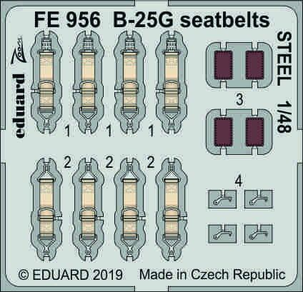 Detailset B25G Mitchell  Seatbelts (Italeri/Accurate Miniatures)  FE956