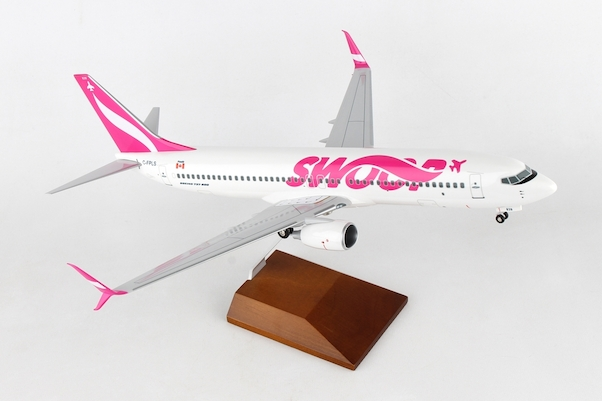 B737-800 (Swoop) C-FPLS W/Wood Stand & Gear  SKR8273