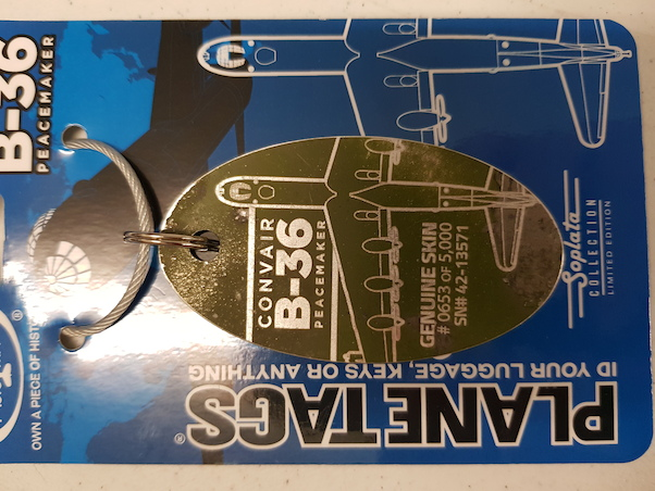 Keychain made of real aircraft skin: Convair B-36 Peacemaker 42-13571  B-36