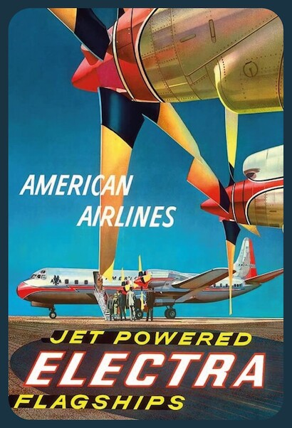 American Airlines - Jet Powered Electra Flagships - Lockheed L-188s Vintage metal poster metal sign  MTSA4056