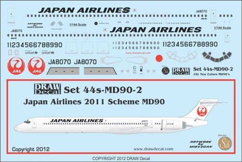 Mc Donnell Douglas MD90 (Japan Airlines 2011 colours)  44-MD90-2