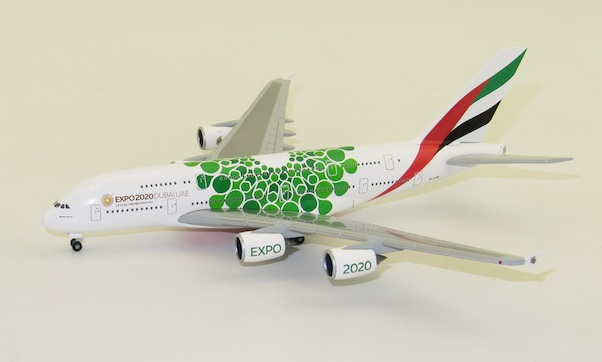 Herpa Wings 1:500 airbus a380 Emirates expo 2020 Green 533522