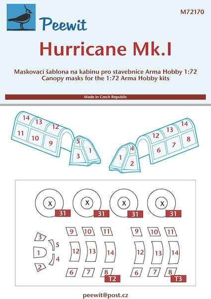 Hawker Hurricane  Canopy and wheel masking (Arma hobby)  M72170