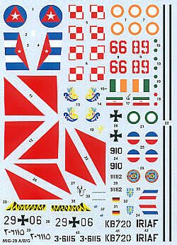 Mikoyan MiG29 Fulcrum (India,Luftwaffe,Cuba,Iran,Serbia,Poland)  HI-DECAL LINE44