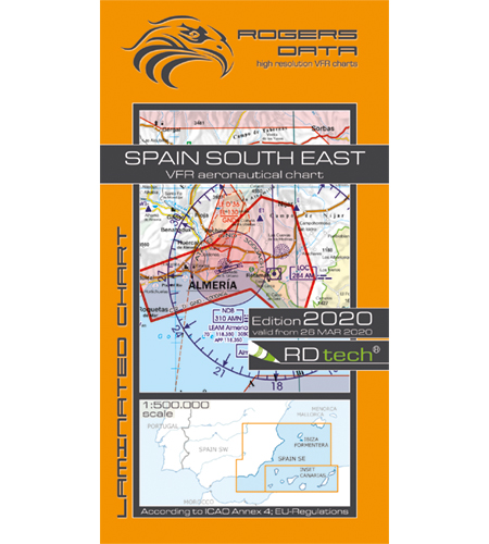 VFR aeronautical chart Spain South East  2020 (including Canary Islands)  ROGERS-ESP-SE