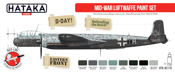 Mid War Luftwaffe (1941-1944)  Paint set (8 colours)  HTK-AS110