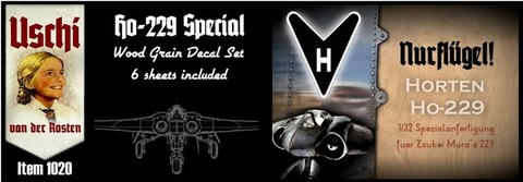 Horten Ho229 Special, Woodgrain decal set ( 6 sheets included) for Soukei Mura  USCHI1020