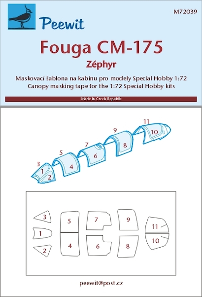 Fouga CM175 Zephyr Canopy Mask (Special Hobby)  M72039