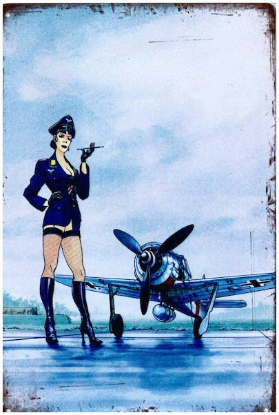 German officer pin up in front of Focke Wulf metal poster metal sign  YD6790DI