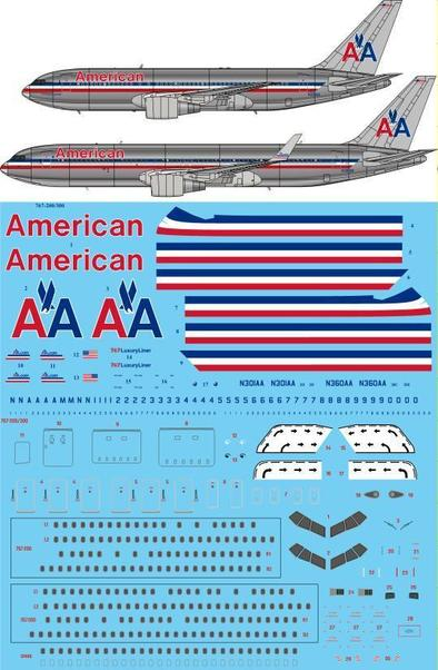 Boeing 767-200/300 (American Airlines Delivery) (Two Six decals STS44295)