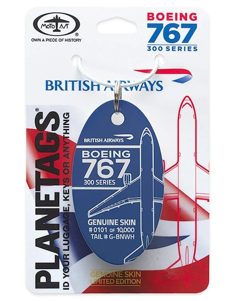 Keychain made of real aircraft skin: Boeing 767 British Aiways G-BNWH Blue  BA 767-BLUE