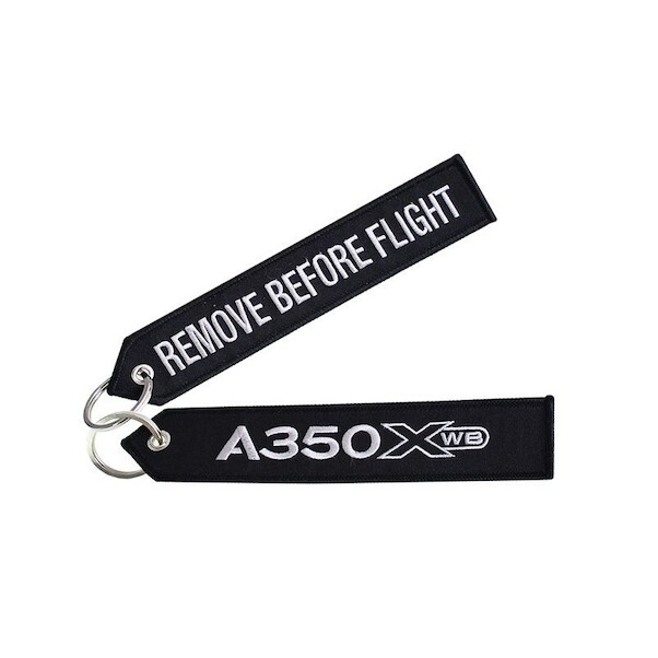 Keyholder (black) with `Remove Before Flight ` on one side and `A350XWB' on other side  RBF-A350XWB