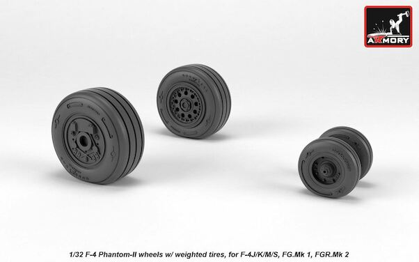 F4J/K/M/S Phantom FG1 and FG2 Late Type wheels with weighted tires (Hasegawa, revell)  AR AW72330