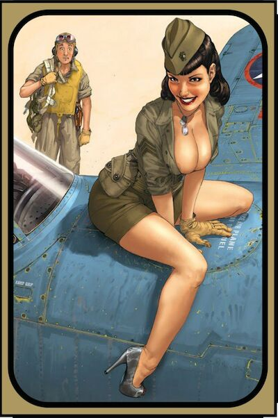 Pin up Army Girl on plane metal poster  CC0173