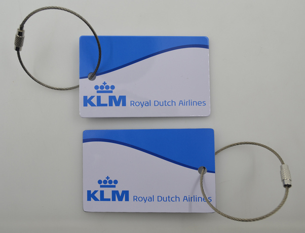 Metal bagtag with KLM Royal Dutch Airlines on both sides