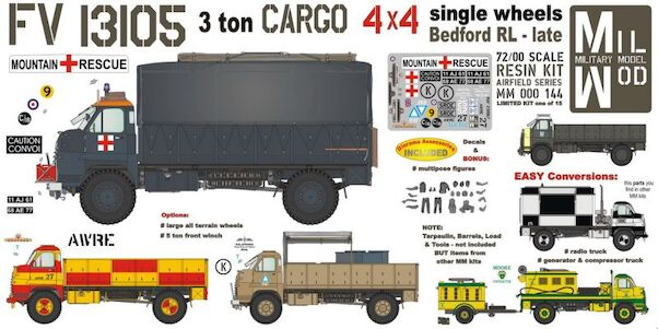 FV13105  3ton Cargo, 4x4, Bedford RL with winch incl. figures and Equipment  MM000-144